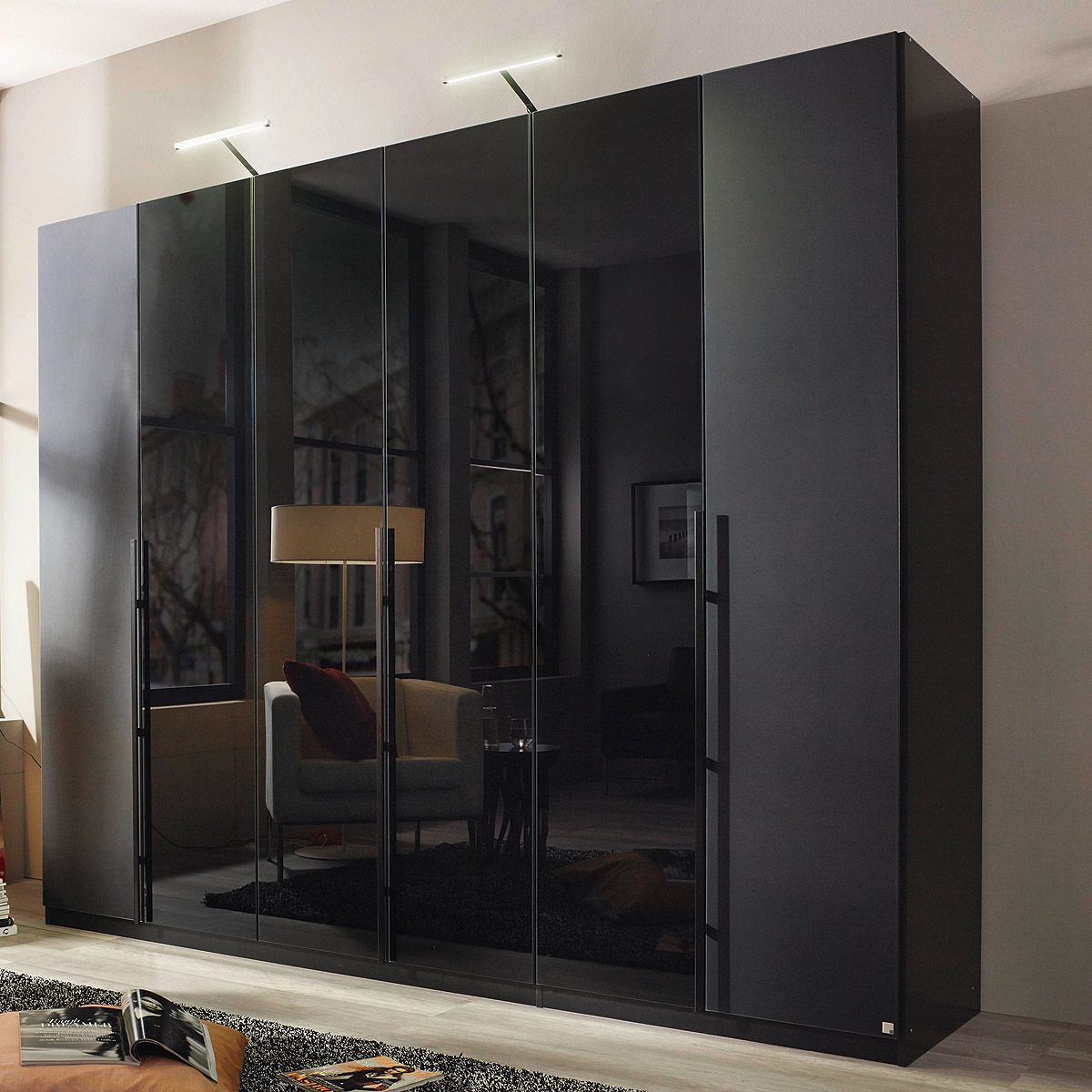kleiderschrank bayamo schrank schlafzimmer glas matt schwarz glas schwarz b 270 ebay. Black Bedroom Furniture Sets. Home Design Ideas