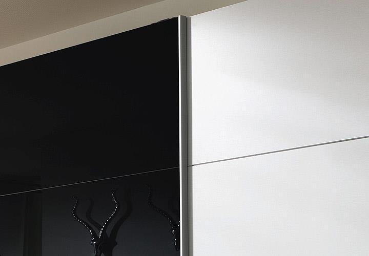 schwebet renschrank quadra kleiderschrank in wei und glas schwarz b 315 cm ebay. Black Bedroom Furniture Sets. Home Design Ideas