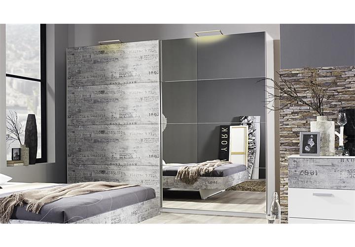 schlafzimmer sumatra extra bett kleiderschrank nachttisch alpinwei vintage grau. Black Bedroom Furniture Sets. Home Design Ideas