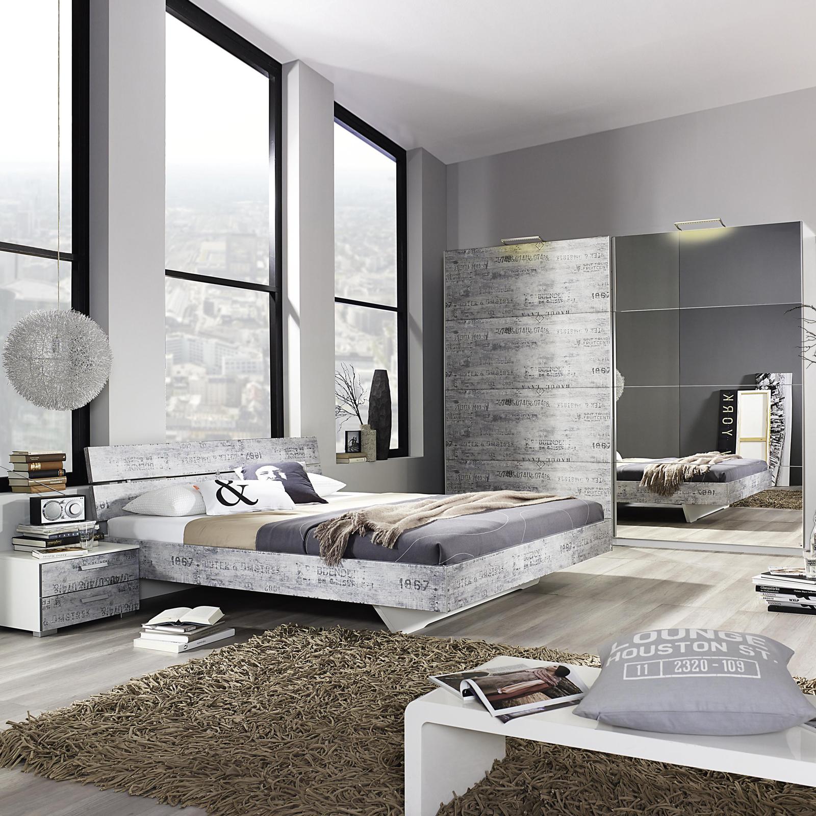 schlafzimmer sumatra extra bett kleiderschrank nachttisch alpinwei vintage grau ebay. Black Bedroom Furniture Sets. Home Design Ideas