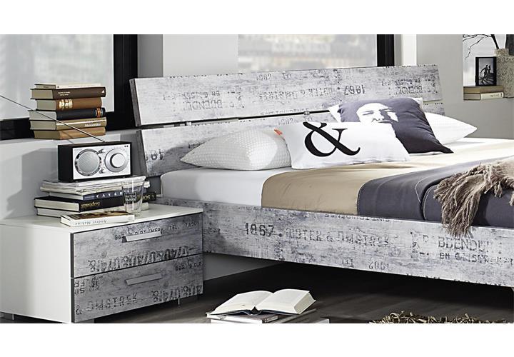 bettanlage sumatra extra schlafzimmer bett nachttisch alpinwei vintage grau ebay. Black Bedroom Furniture Sets. Home Design Ideas