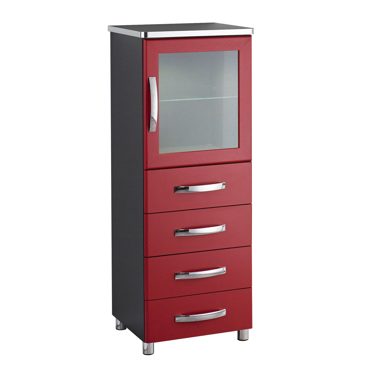 vitrine cubana kommode schrank hochkommode in schwarz rot und chrom. Black Bedroom Furniture Sets. Home Design Ideas