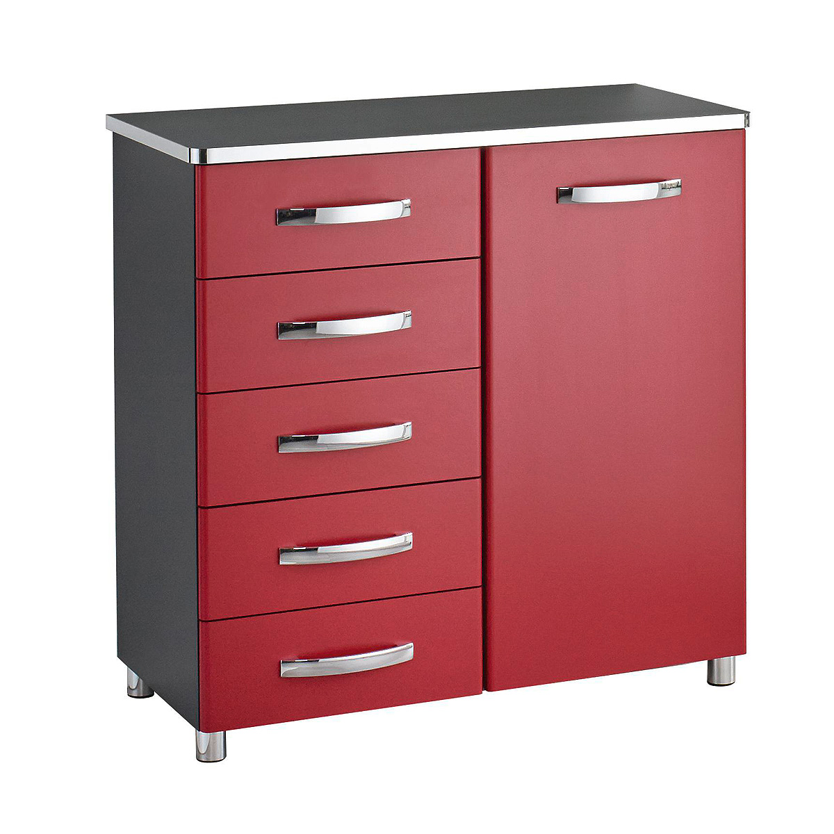 kommode cubana sideboard anrichte schrank in schwarz rot und chrom ebay. Black Bedroom Furniture Sets. Home Design Ideas