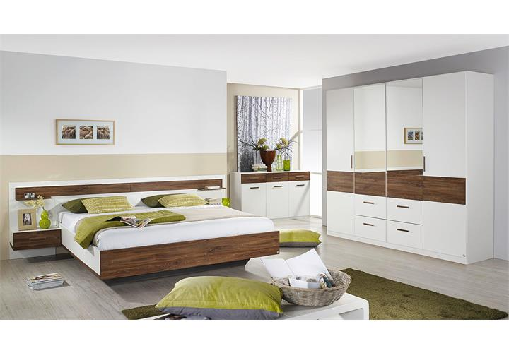 bettanlage jena bett schlafzimmerbett nako in wei eiche stirling 180x200 ebay. Black Bedroom Furniture Sets. Home Design Ideas
