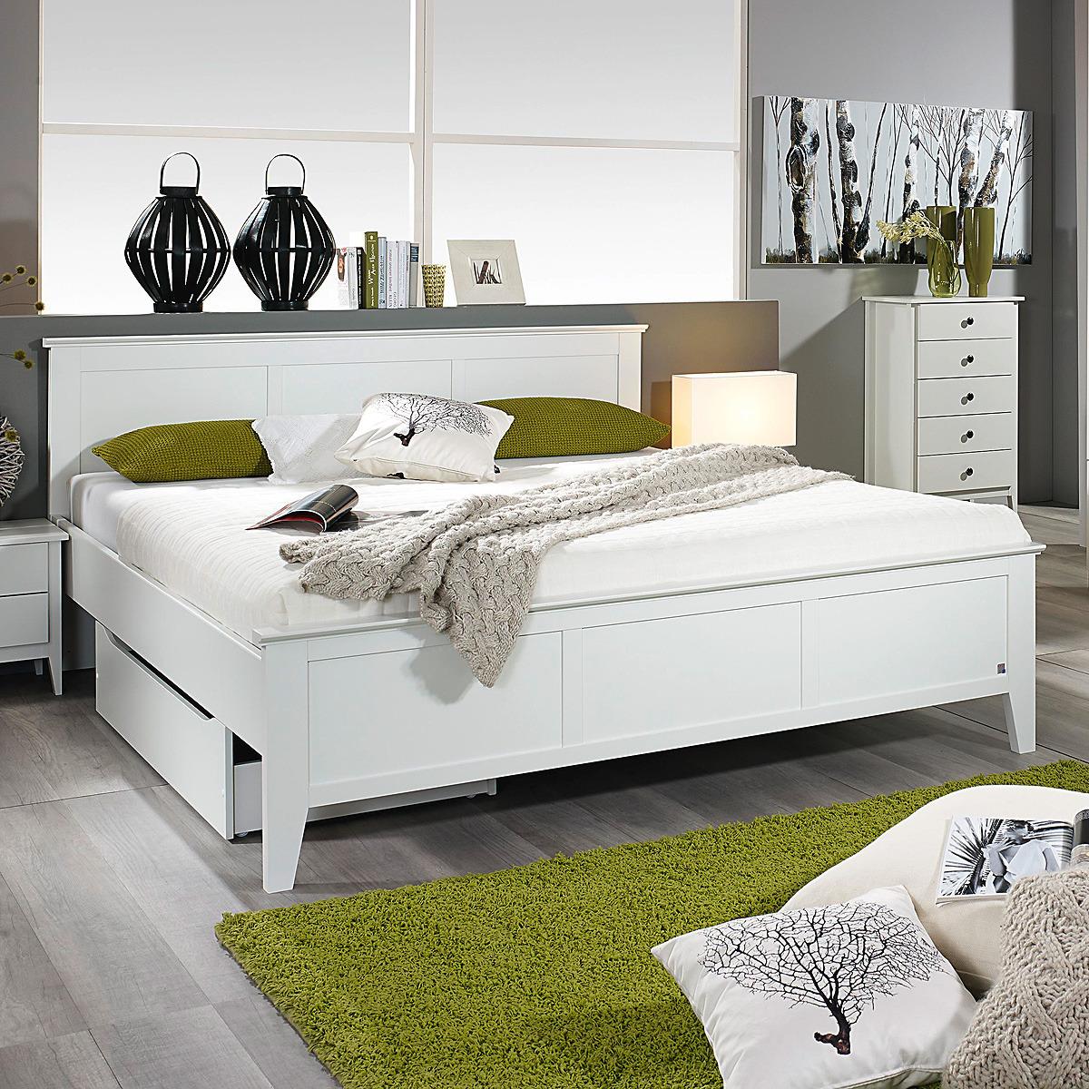bett rosenheim schlafzimmerbett bettgestell doppelbett in wei 160x200 ebay. Black Bedroom Furniture Sets. Home Design Ideas