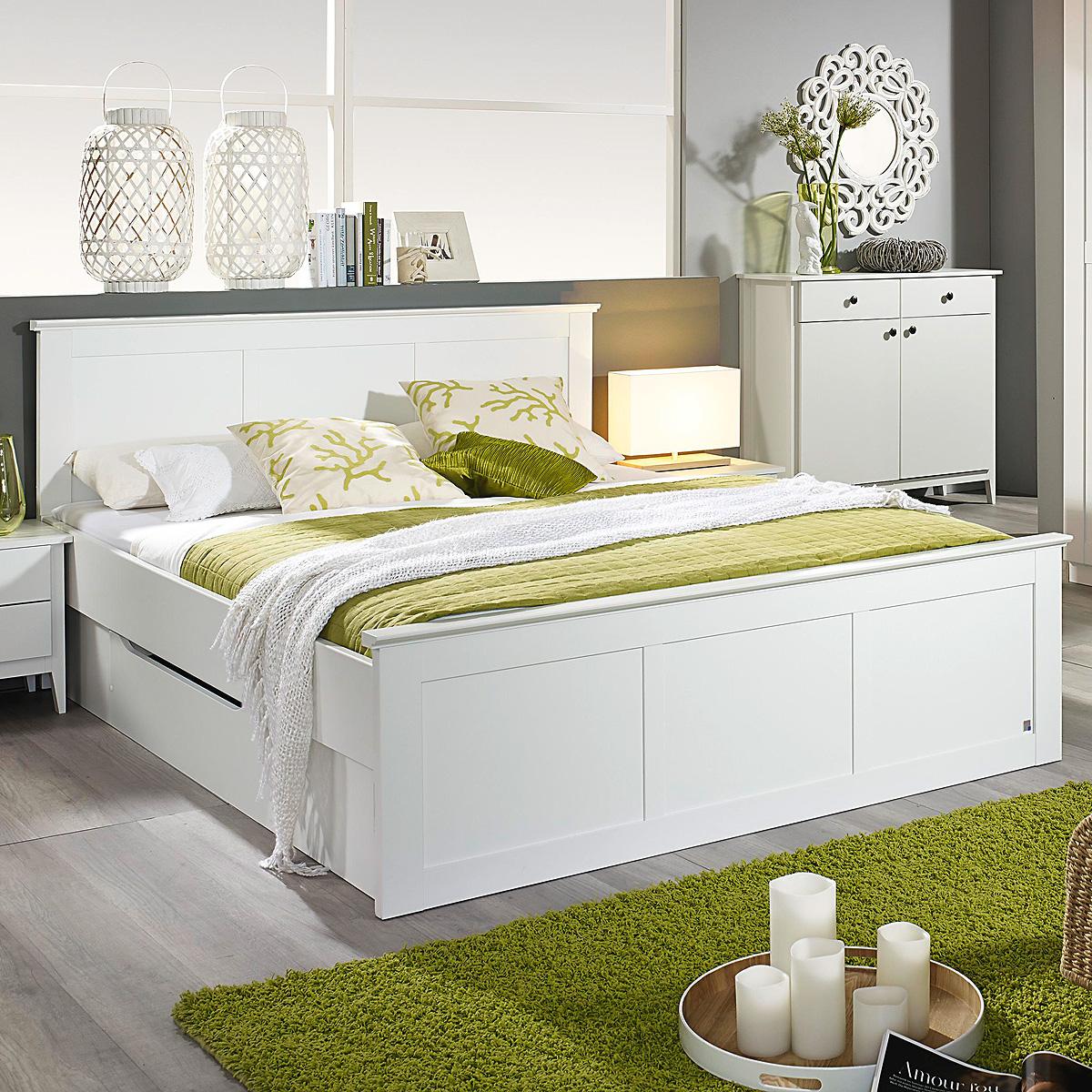bett rosenheim schlafzimmerbett bettgestell in wei inkl bettschubkasten 180x20 ebay. Black Bedroom Furniture Sets. Home Design Ideas