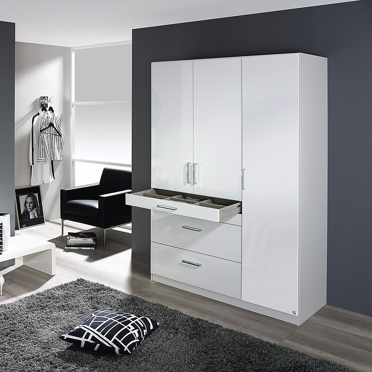 kleiderschrank homburg schrank schlafzimmerschrank in wei hochglanz auswahl ebay. Black Bedroom Furniture Sets. Home Design Ideas