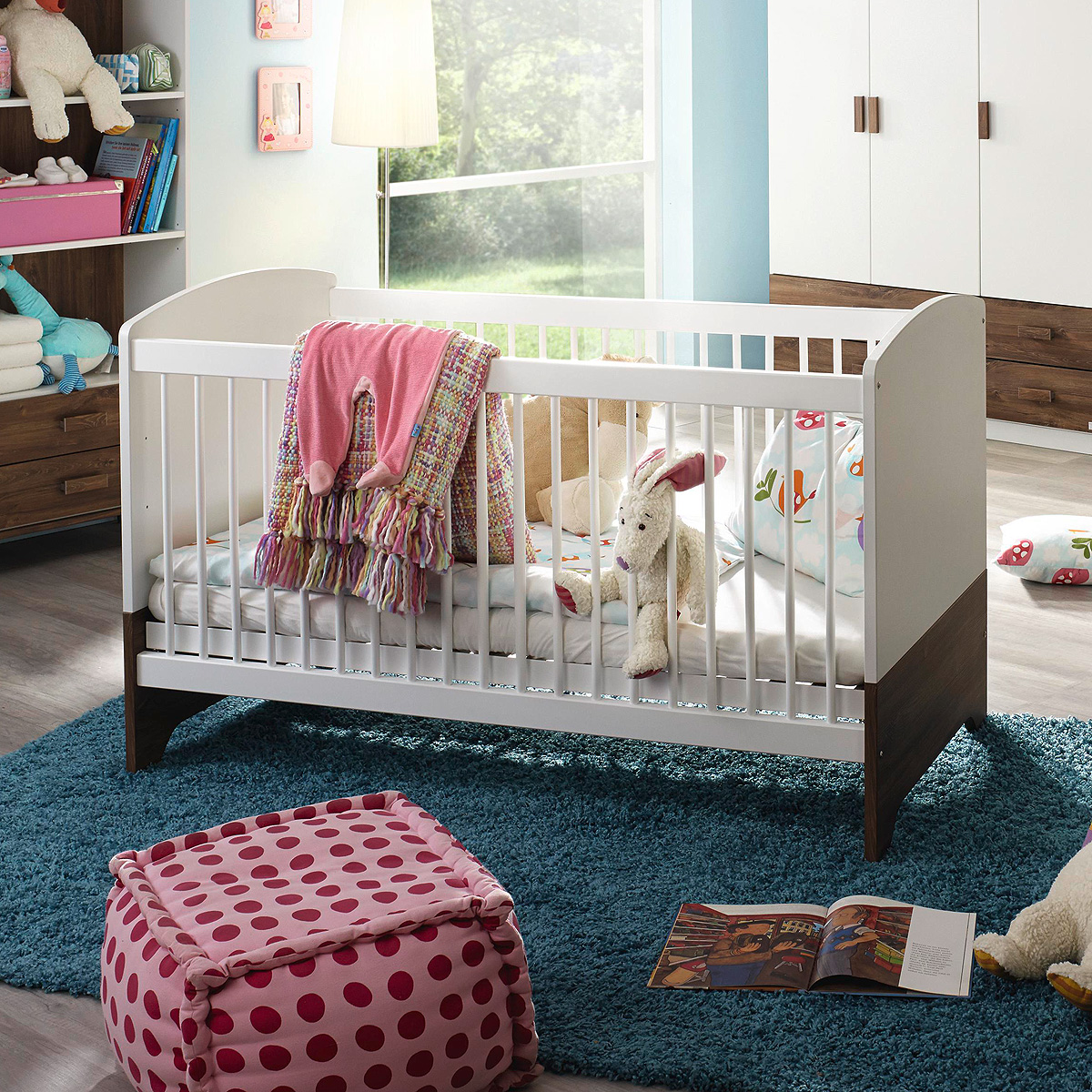 babybett susann sprossenbett kinderbett wei eiche stirling mit lattenrost ebay. Black Bedroom Furniture Sets. Home Design Ideas
