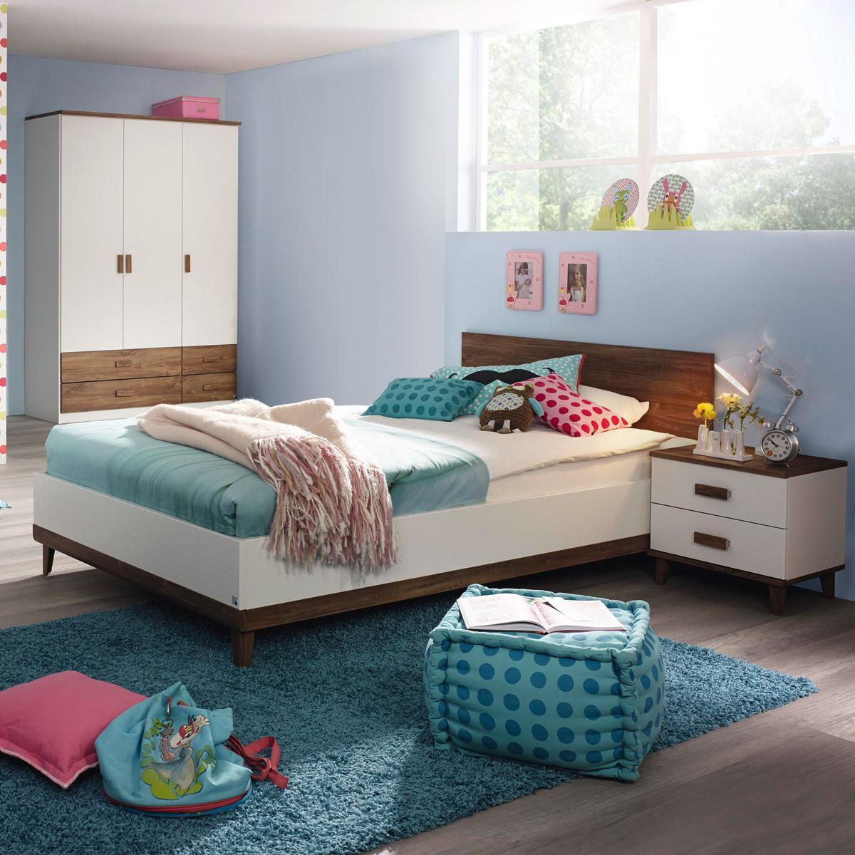 Jugendzimmer Smart Kinderzimmer Schrank Bett Nako in lila weiß ...