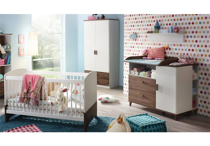 babyzimmer susann kinderzimmer schrank bett wickelkommode wei eiche stirlin ebay. Black Bedroom Furniture Sets. Home Design Ideas