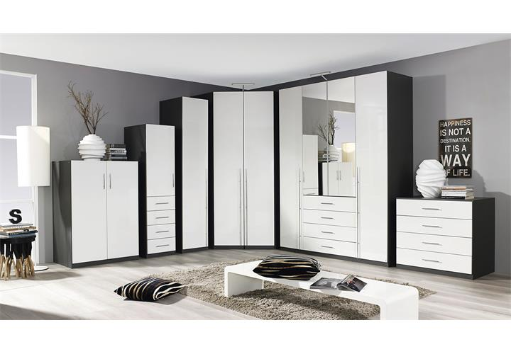eckschrank elan schrank kleiderschrank in wei hochglanz und graphit grau 123 cm ebay. Black Bedroom Furniture Sets. Home Design Ideas