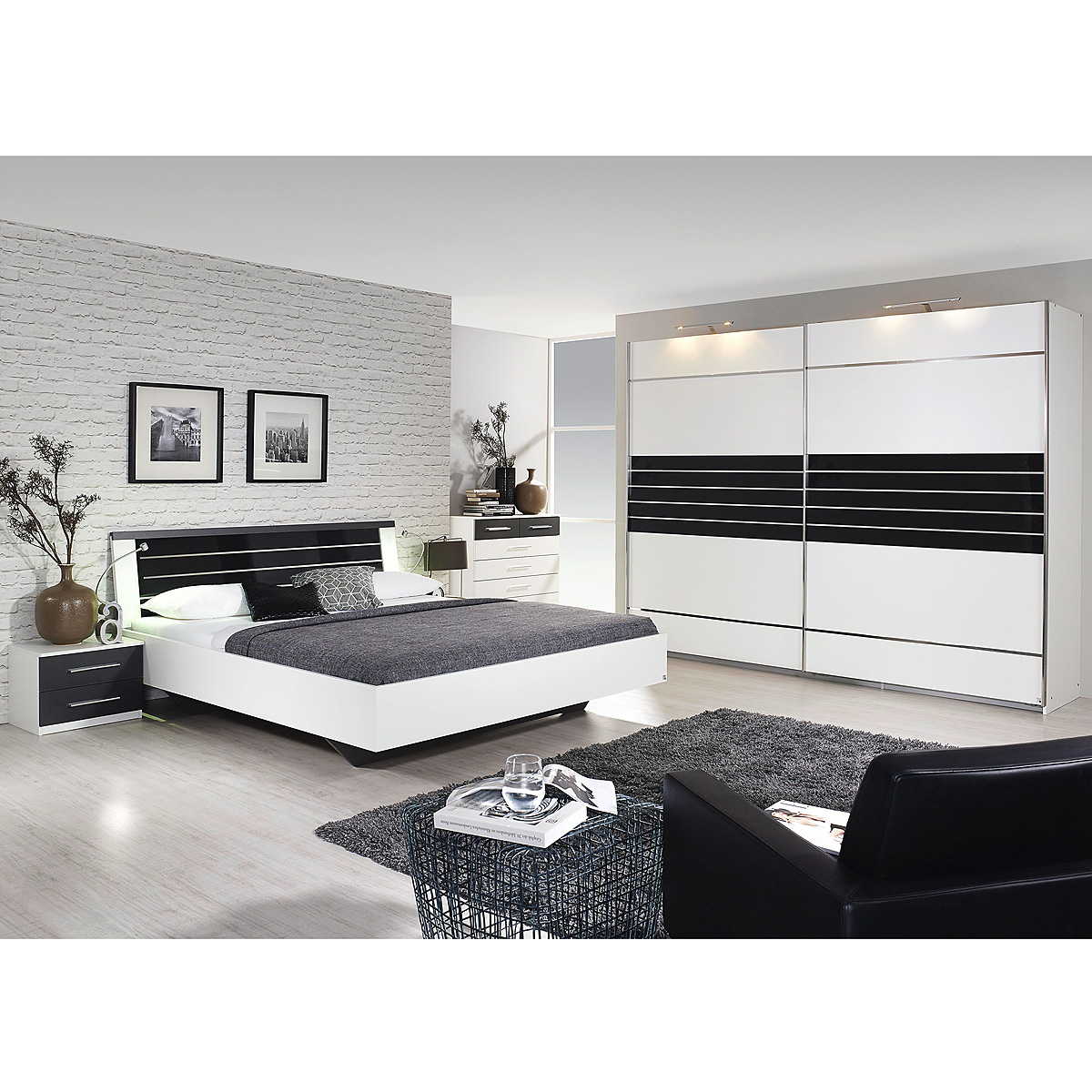 schlafzimmer set nienburg bett schrank nako wei grau metallic und glas basalt ebay. Black Bedroom Furniture Sets. Home Design Ideas