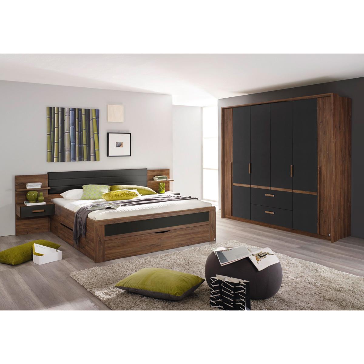 Schlafzimmer set 2 bernau bett nako kleiderschrank eiche stirling ...