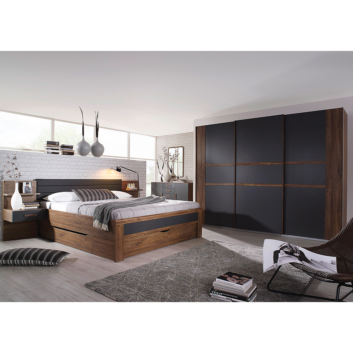 schlafzimmer set 3 bernau bett nako kleiderschrank eiche stirling grau basalt ebay. Black Bedroom Furniture Sets. Home Design Ideas