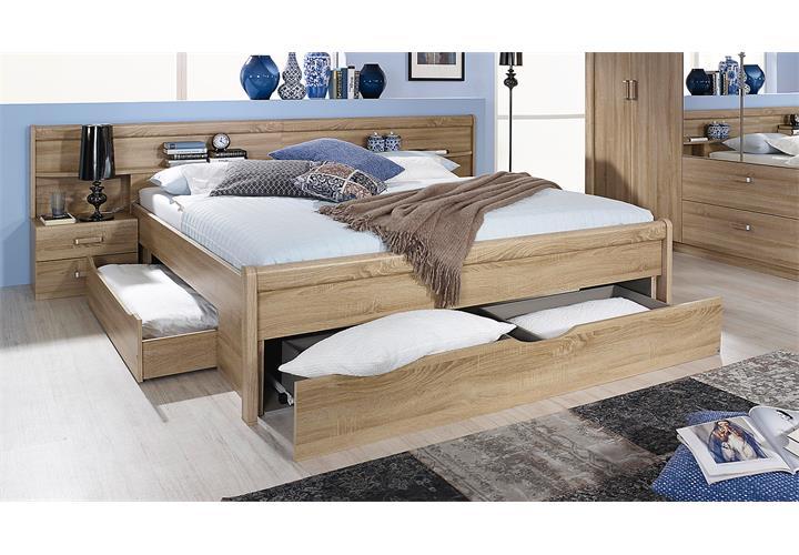 bettanlage cham bett schlafzimmerbett nachtkommode nako in sonoma eiche 180 ebay. Black Bedroom Furniture Sets. Home Design Ideas