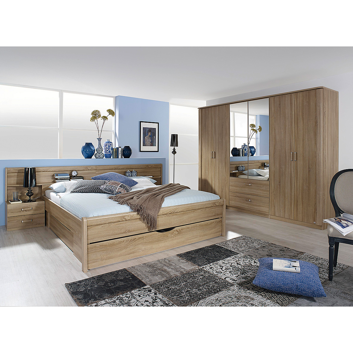 schlafzimmer set cham schrank kleiderschrank bett nako in sonoma eiche eur picclick de. Black Bedroom Furniture Sets. Home Design Ideas