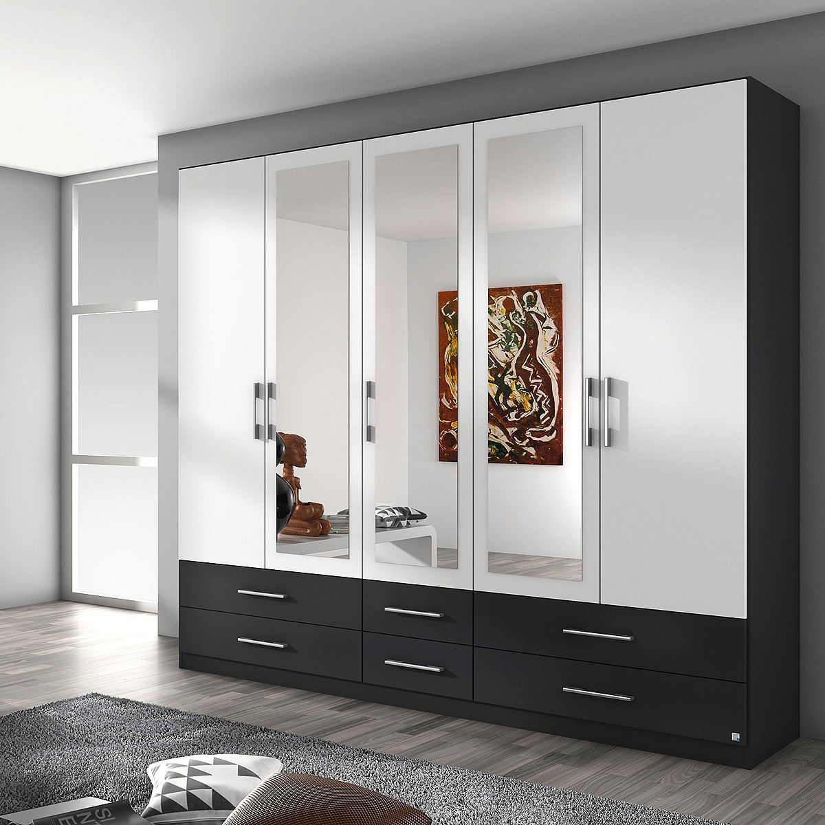 kleiderschrank hersbruck schrank in wei grau metallic. Black Bedroom Furniture Sets. Home Design Ideas