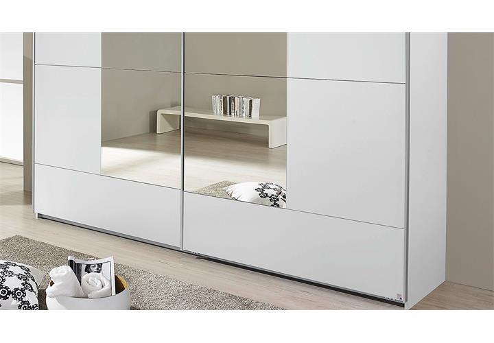 schwebet renschrank crato kleiderschrank schrank in wei mit spiegel 218 cm ebay. Black Bedroom Furniture Sets. Home Design Ideas