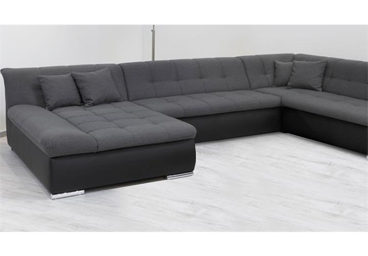 wohnlandschaft alabama ecksofa sofa in schwarz und grau mit funktion ebay. Black Bedroom Furniture Sets. Home Design Ideas