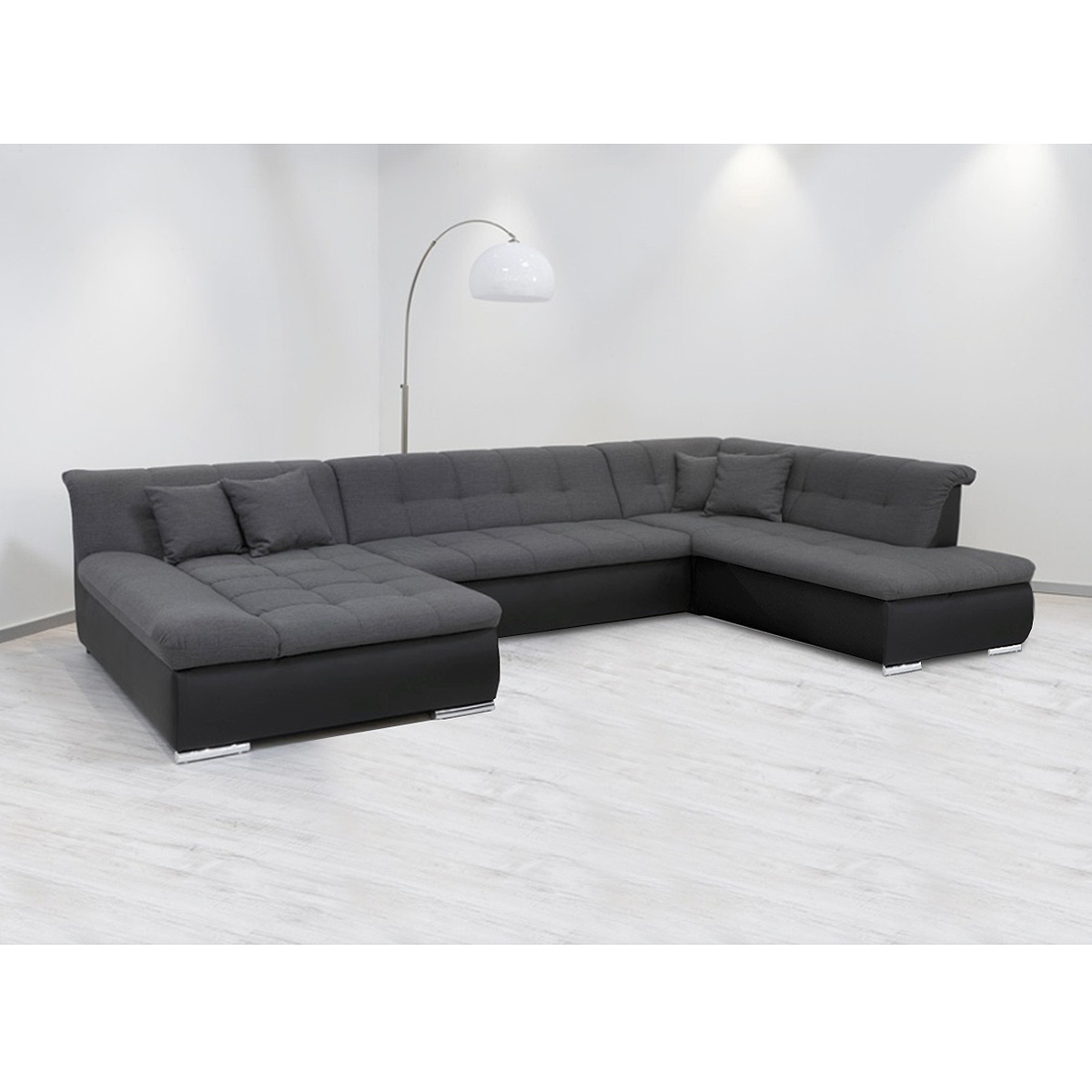 wohnlandschaft alabama ecksofa sofa in schwarz und grau. Black Bedroom Furniture Sets. Home Design Ideas
