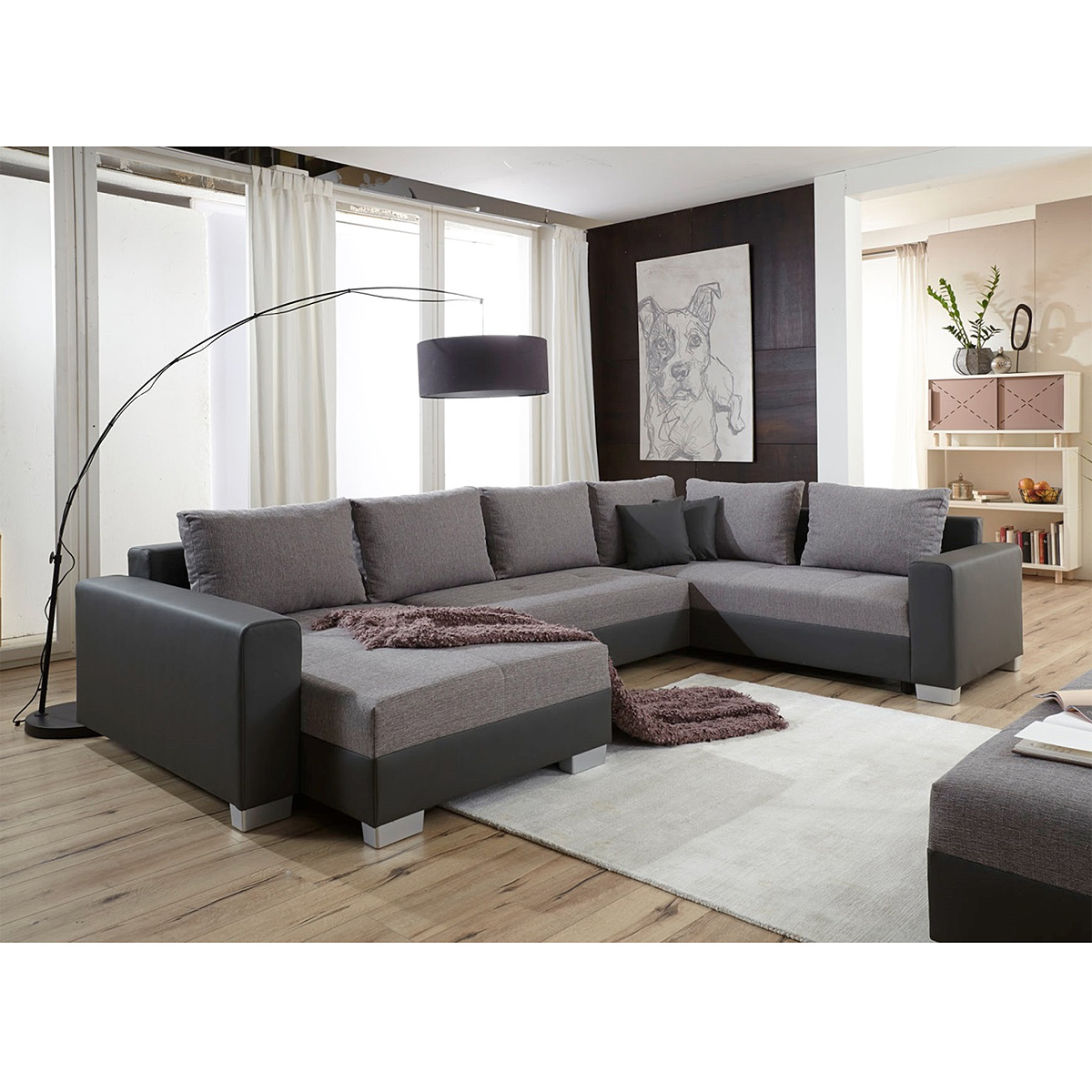 wohnlandschaft largas ecksofa sofa in schwarz und grau schlaffunktion ebay. Black Bedroom Furniture Sets. Home Design Ideas
