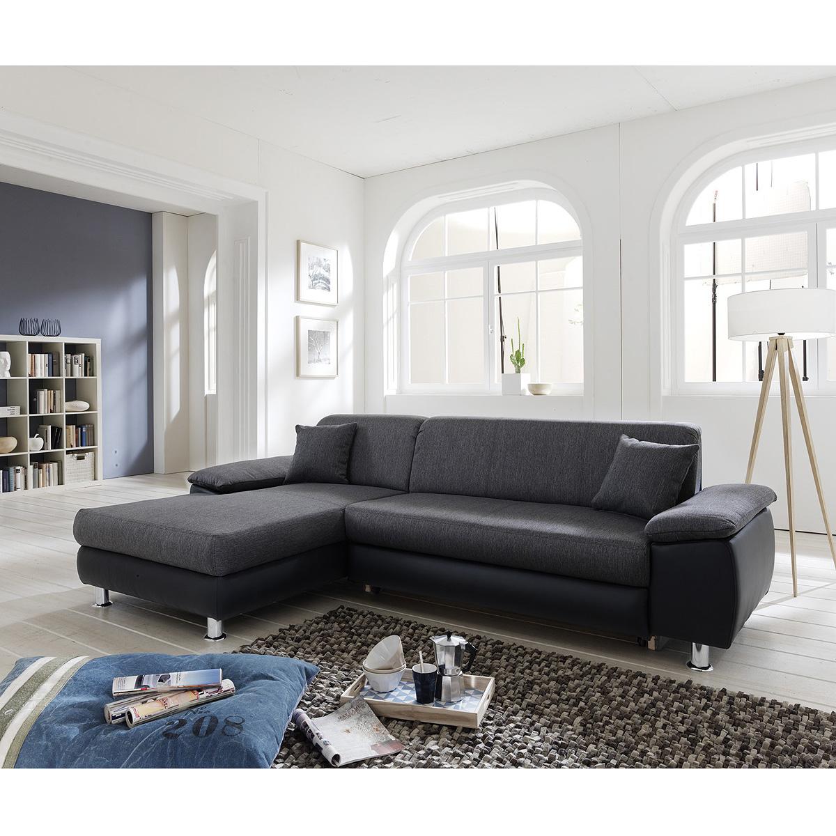 wohnlandschaft mexico ecksofa sofa polsterm bel in grau und schwarz ebay. Black Bedroom Furniture Sets. Home Design Ideas