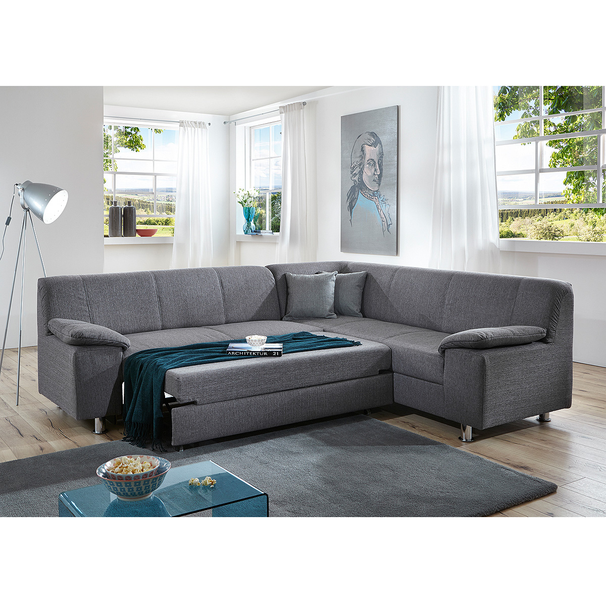 ecksofa alamo wohnlandschaft sofa polstersofa grau mit oder ohne schlaffunktion ebay. Black Bedroom Furniture Sets. Home Design Ideas