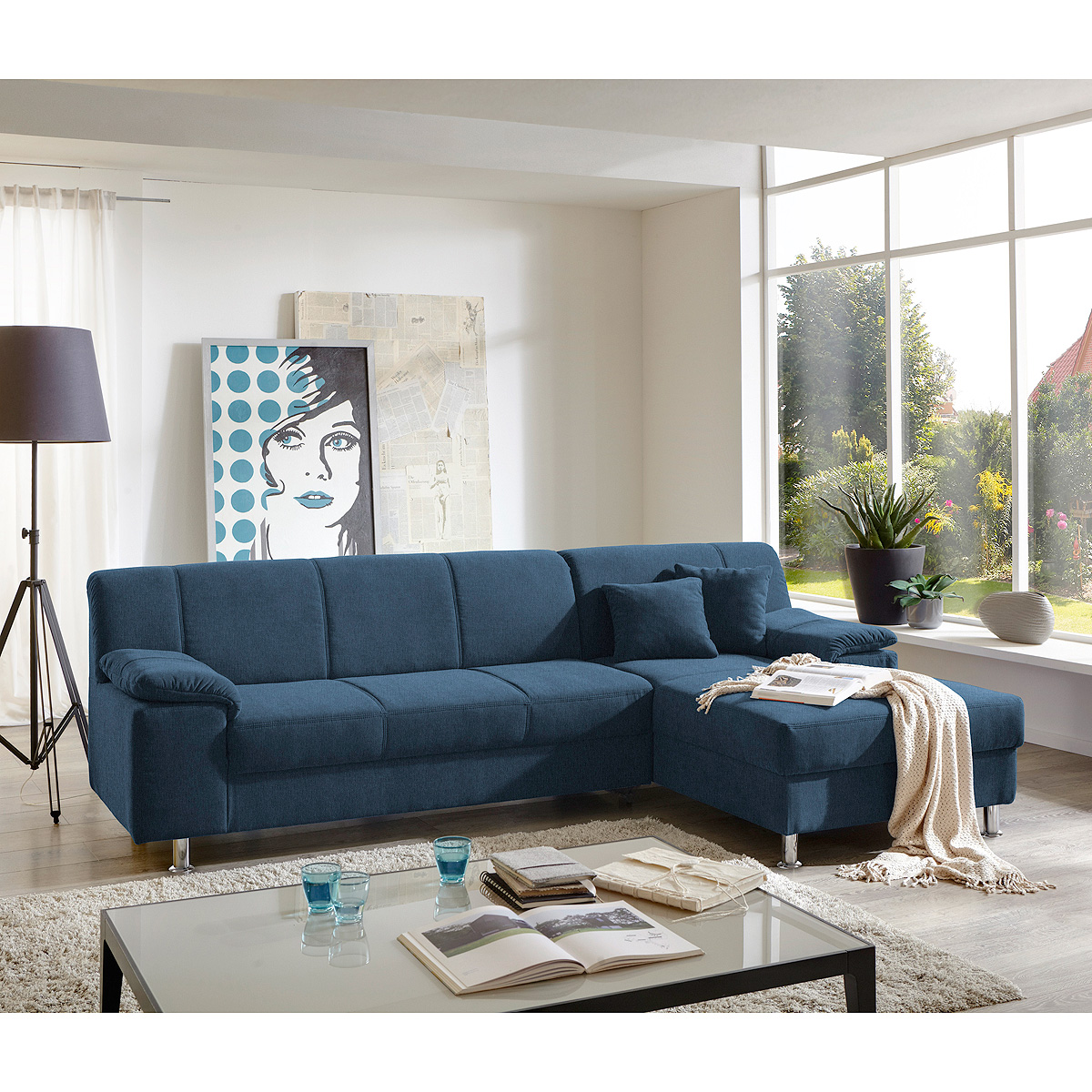 ecksofa alamo wohnlandschaft sofa polstersofa in blau mit kissen. Black Bedroom Furniture Sets. Home Design Ideas