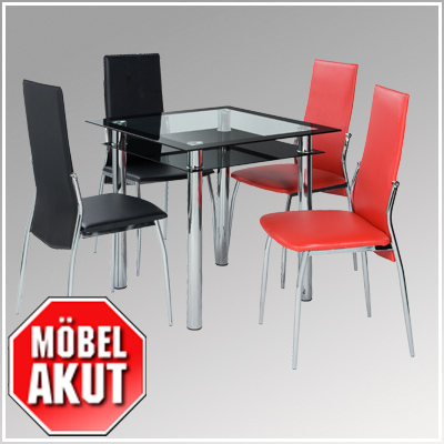 esstisch fani tisch in schwarz glas chrom 80x80 ebay. Black Bedroom Furniture Sets. Home Design Ideas
