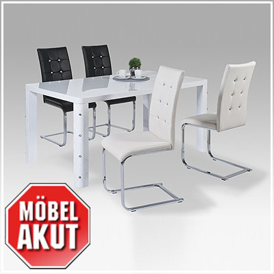 tischgruppe muros taffy tisch stuhl wei hochglanz chrom diamant ebay. Black Bedroom Furniture Sets. Home Design Ideas