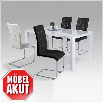 tischgruppe muros taffy tisch stuhl wei hochglanz schwarz chrom diamant ebay. Black Bedroom Furniture Sets. Home Design Ideas