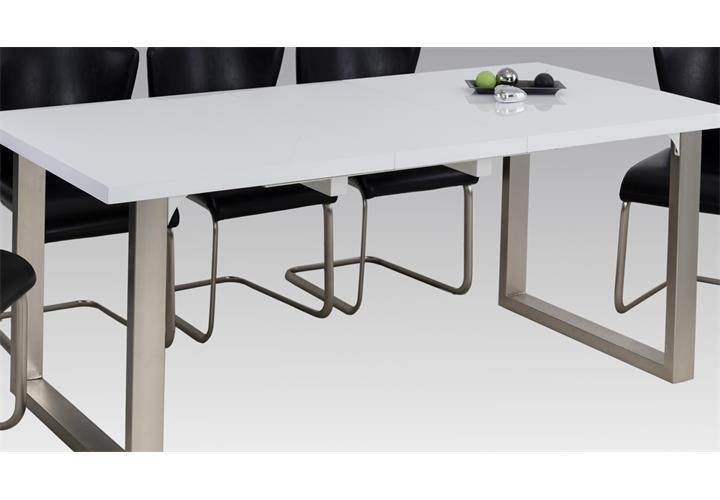 esstisch romana tisch wei hochglanz edelstahl mit einlegeplatte esszimmertisch. Black Bedroom Furniture Sets. Home Design Ideas
