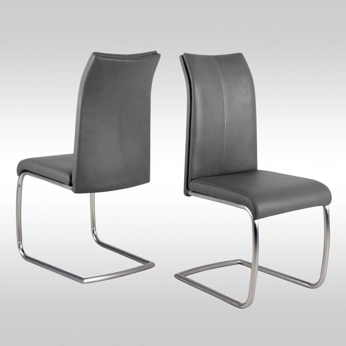 4er set schwingstuhl orlando st hle grau edelstahl freischwinger esszimmer ebay. Black Bedroom Furniture Sets. Home Design Ideas