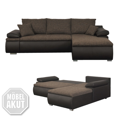 ecksofa celina sofa couch in dunkelbraun braun inkl funktionen kissen 274x180 ebay. Black Bedroom Furniture Sets. Home Design Ideas