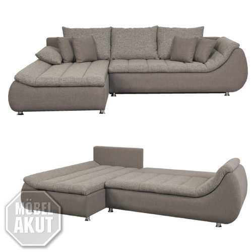 ecksofa rondo sofa couch in grau stone mit schlaffunktion ebay. Black Bedroom Furniture Sets. Home Design Ideas