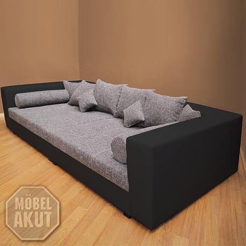 sofa biggy bigsofa megasofa in schwarz grau neu ebay. Black Bedroom Furniture Sets. Home Design Ideas