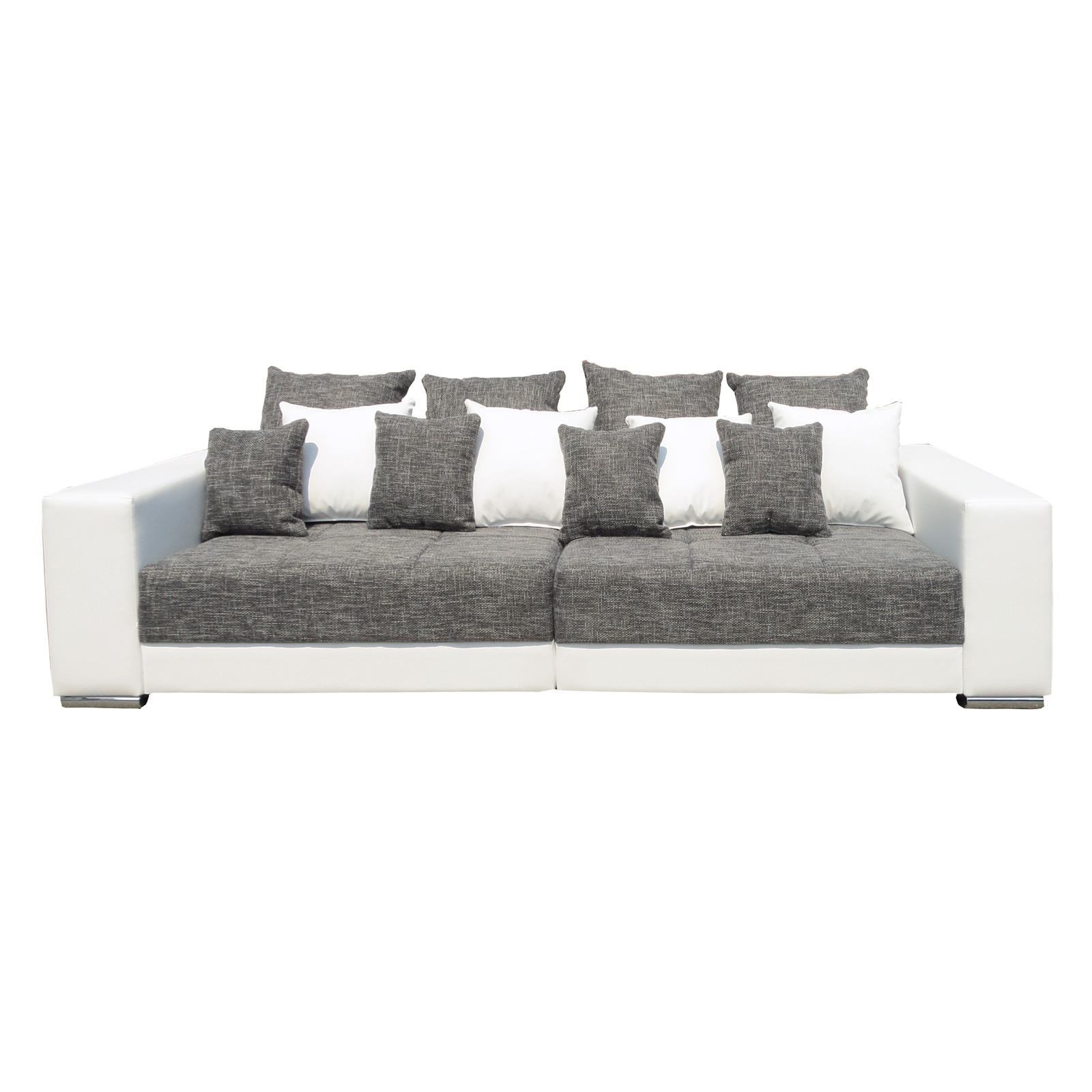 bigsofa adria polstergarnitur wohnlandschaft im lederlook wei webstoff hellgrau ebay. Black Bedroom Furniture Sets. Home Design Ideas