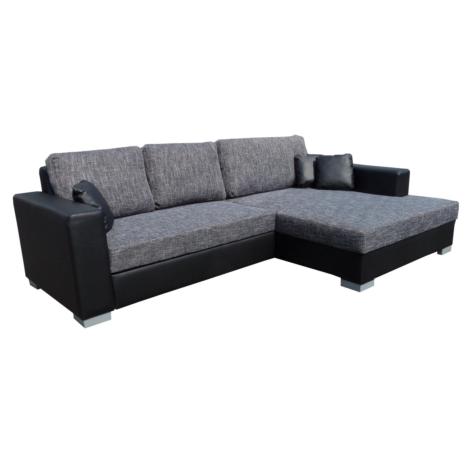 ecksofa flamenco couch wohnlandschaft mit schlaffunktion lederlook schwarz grau. Black Bedroom Furniture Sets. Home Design Ideas