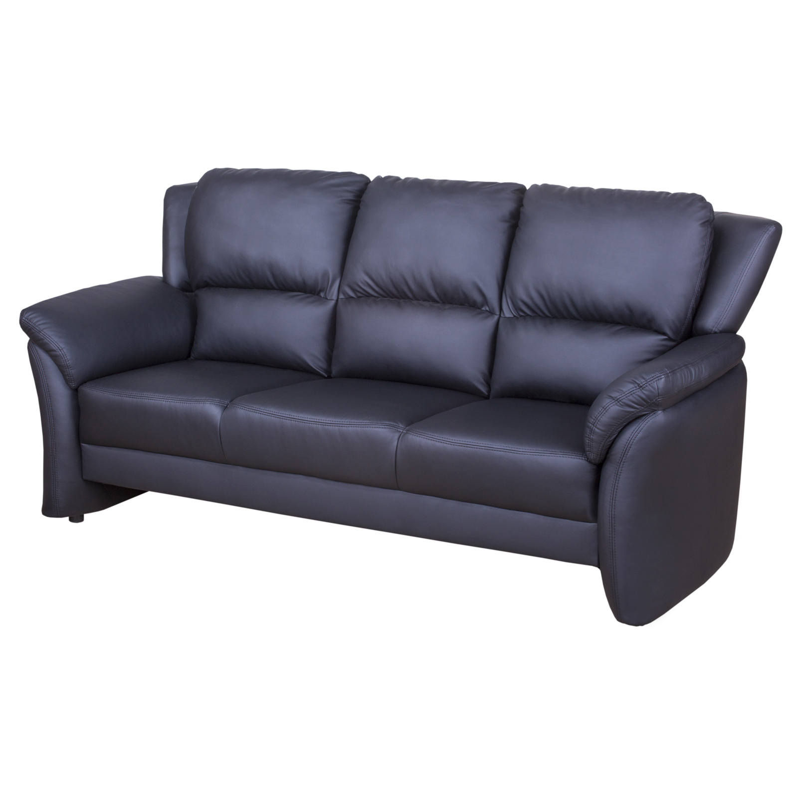 sofa 3 sitzer pisa einzelsofa couch polsterm bel in schwarz lederlook 201 cm ebay. Black Bedroom Furniture Sets. Home Design Ideas