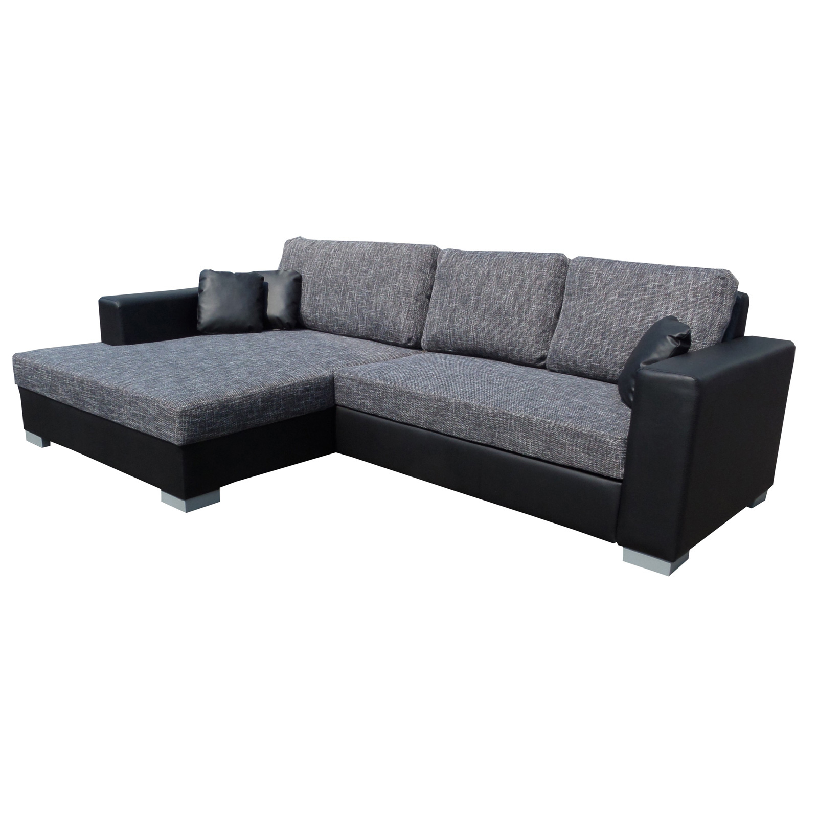 ecksofa flamenco couch mit schlaffunktion lederlook schwarz grau ottomane links ebay. Black Bedroom Furniture Sets. Home Design Ideas