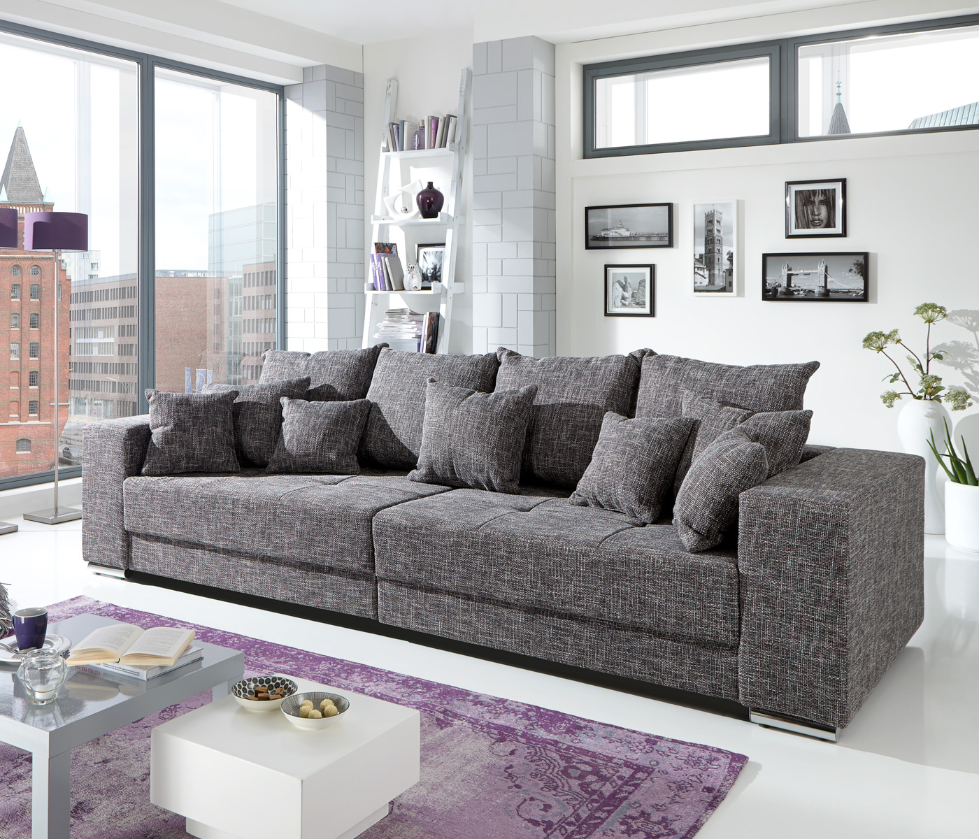 bigsofa adria big sofa couch in webstoff graubraun mit vielen kissen. Black Bedroom Furniture Sets. Home Design Ideas