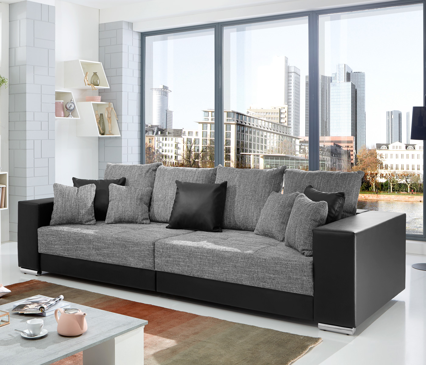 bigsofa adria big sofa wohnzimmer xxl couch stoffausf hrung oder materialmix ebay. Black Bedroom Furniture Sets. Home Design Ideas