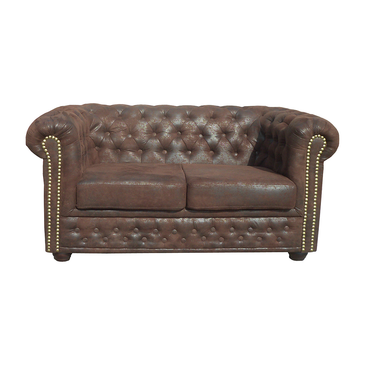 sofa sheffield 2 sitzer chesterfield polsterm bel 2er couch microfaser braun ebay. Black Bedroom Furniture Sets. Home Design Ideas