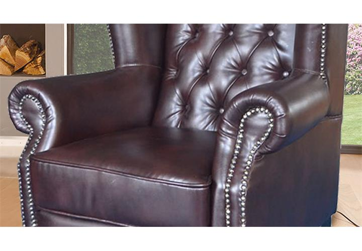 ohrensessel chesterfield sessel in dunkelbraun gl nzend mit steppung ebay. Black Bedroom Furniture Sets. Home Design Ideas
