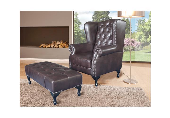 ohrensessel chesterfield sessel in dunkelbraun gl nzend mit steppung ebay. Black Bedroom Furniture Sets. Home Design Ideas