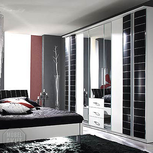 kleiderschrank rio schlafzimmer schrank schwarz weiss ebay. Black Bedroom Furniture Sets. Home Design Ideas