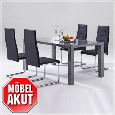 esstisch nando tisch in grau hochglanz b 160 cm. Black Bedroom Furniture Sets. Home Design Ideas