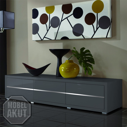 lowboard luxor sideboard in grau hochglanz lackiert ebay. Black Bedroom Furniture Sets. Home Design Ideas