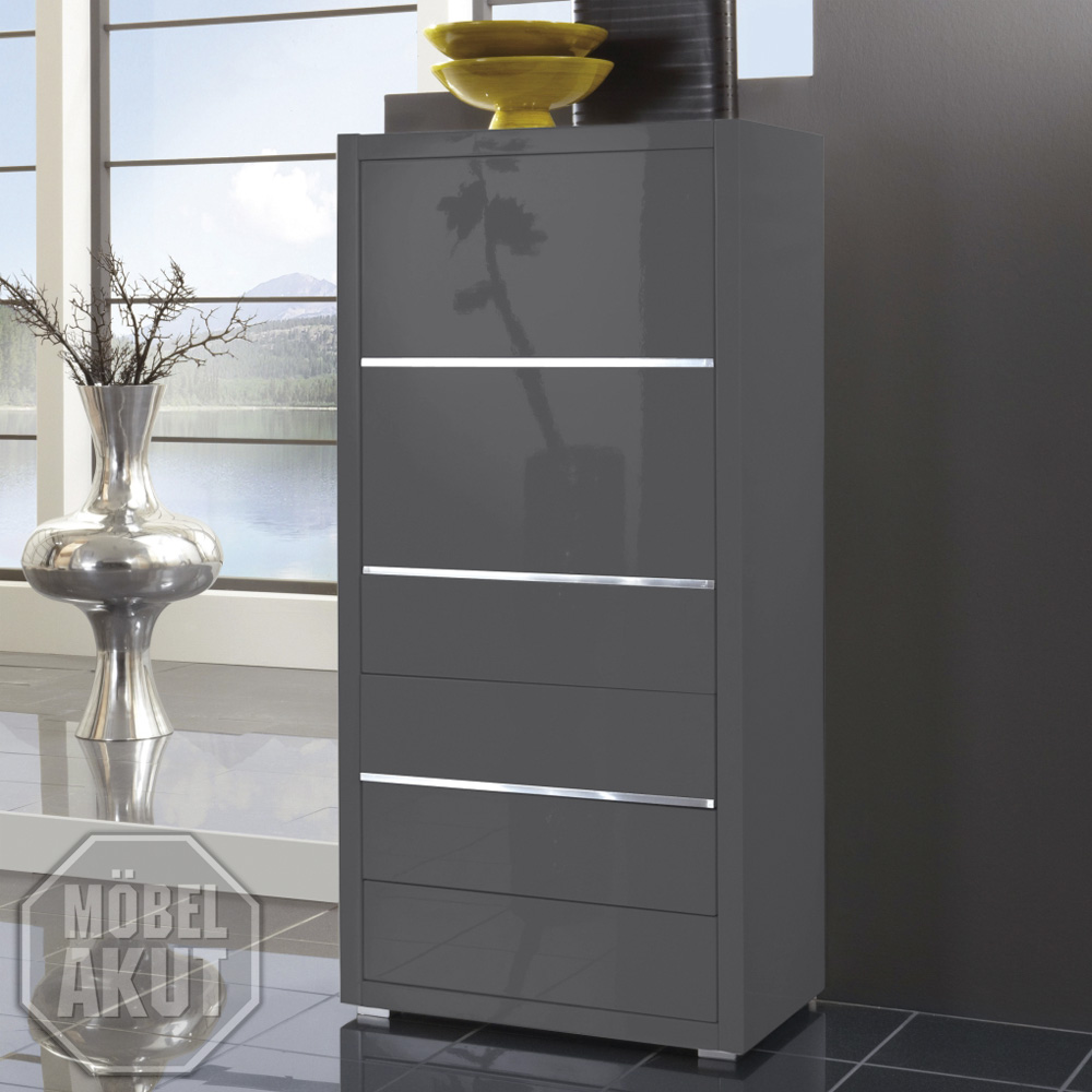 kommode luxor schrank grau hochglanz lackiert neu ebay. Black Bedroom Furniture Sets. Home Design Ideas