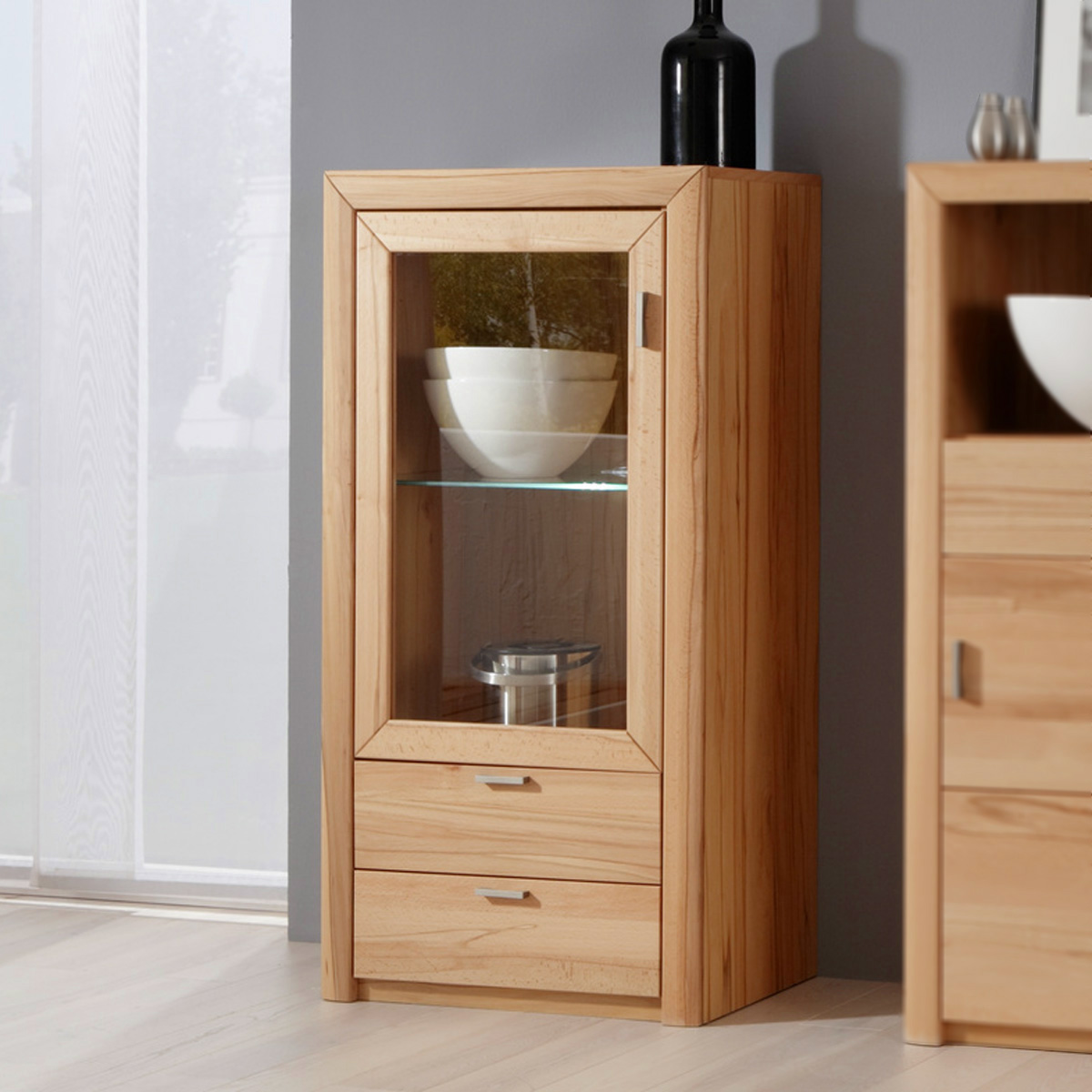 highboard passepartout 04 l vitrine kommode in kernbuche massiv wachseffektlack ebay. Black Bedroom Furniture Sets. Home Design Ideas